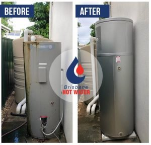 Before and after hot water system replacement
